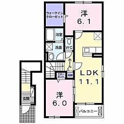 ジェルメ・メゾン IV A 2階2LDKの間取り