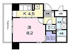 クリサンセマムII 4階1Kの間取り