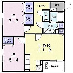 ピュアメゾン辻子 3階2LDKの間取り