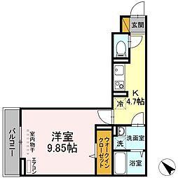 (仮称)D-room幕張本郷3ー4 2階1Kの間取り