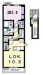 ラポームメゾンII 2階1LDKの間取り