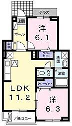 JR山陽本線 舞子駅 バス12分 舞子坂4丁目下車 徒歩4分の賃貸アパート 1階2LDKの間取り