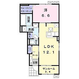 野田アパートB 1階1LDKの間取り