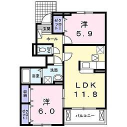 サンガーデンM・V 1階2LDKの間取り