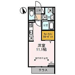 Sakura 1階ワンルームの間取り