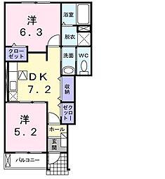 ガーデンハウスミルト 1階2DKの間取り