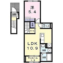 ノーブル笹崎 2階1LDKの間取り