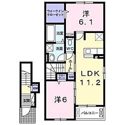 リリーベル 2階2LDKの間取り