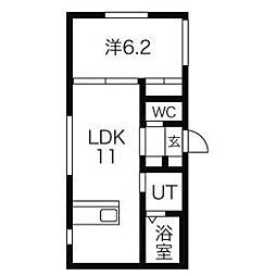 ラ・フォルテS13 2階1LDKの間取り