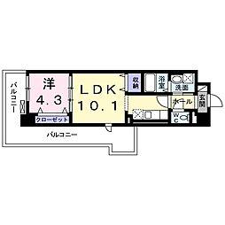 サンプラザ 茨木 4階1LDKの間取り