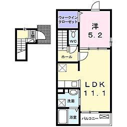 オーシャンズ 2階1LDKの間取り