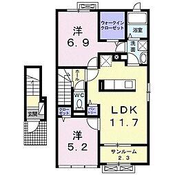 レジデンス・エクセレントC 2階2LDKの間取り