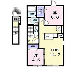 リーヴス 2階2LDKの間取り