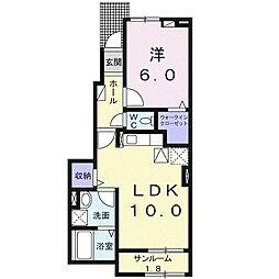 新々田アパート(025859701) 1階1LDKの間取り