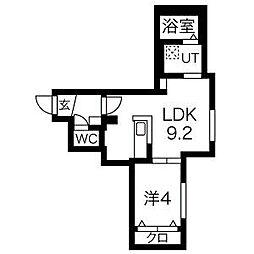 札幌市営東豊線 美園駅 徒歩6分の賃貸マンション 3階1LDKの間取り