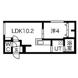 札幌市営東豊線 美園駅 徒歩6分の賃貸マンション 4階1LDKの間取り