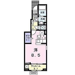 ラ・クレ・ド・ボヌール 1階1Kの間取り