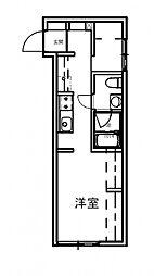 JR山陽本線 安芸中野駅 徒歩8分の賃貸アパート 1階ワンルームの間取り