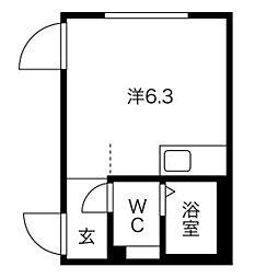 京王井の頭線 神泉駅 徒歩2分の賃貸マンション 3階ワンルームの間取り