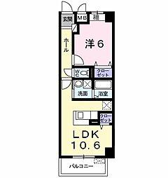 山陽電鉄本線 藤江駅 徒歩2分の賃貸マンション 2階1LDKの間取り