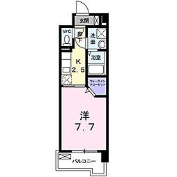 比恵西CoCoマンション 3階1Kの間取り