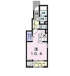 プレミアム22番館 1階1Kの間取り