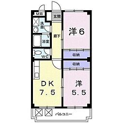 中須賀永井ビル 3階2DKの間取り