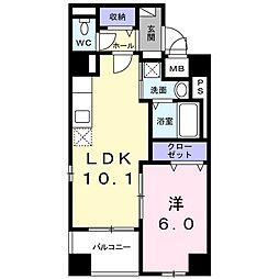 シュバリエ 1階1LDKの間取り