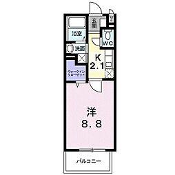レジデンス21 6階1Kの間取り