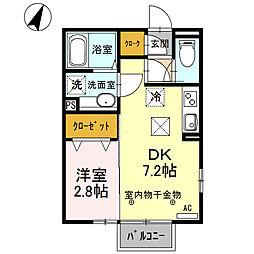 勝山 A 1階1DKの間取り
