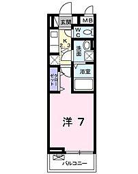 キングキャッスル 弐番館 1階1Kの間取り