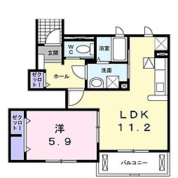 シャトーハイツ D 1階1LDKの間取り