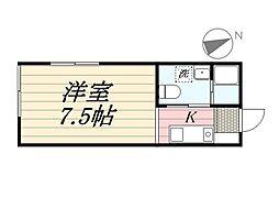 東急東横線 祐天寺駅 徒歩10分の賃貸アパート 1階ワンルームの間取り