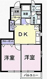 ファミーユA 1階2DKの間取り