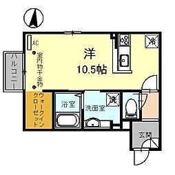 セジュール モンブラン 2階ワンルームの間取り