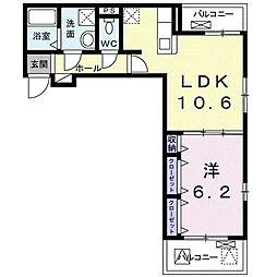 クオーレIII 3階1LDKの間取り