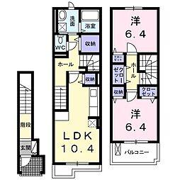 ル シェル ブルー A 2階2LDKの間取り