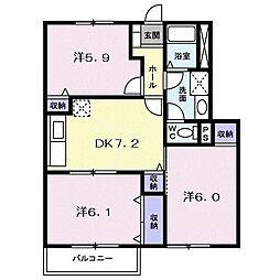 コモド・カーサ B 1階3DKの間取り