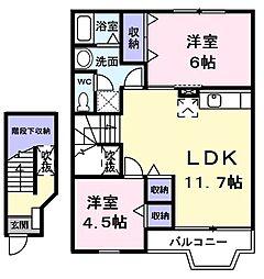 リバーNハイツ 2階2LDKの間取り