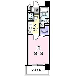 レジデンス21 5階1Kの間取り
