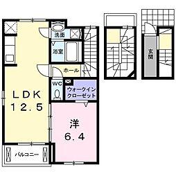 JR仙山線 愛子駅 徒歩22分の賃貸アパート 3階1LDKの間取り