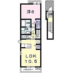 JR仙石線 石巻あゆみ野駅 徒歩24分の賃貸アパート 2階1LDKの間取り