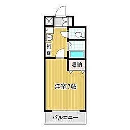 バッハレジデンス神戸ウエスト C棟 2階1Kの間取り