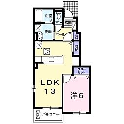 グレ-シアE・S・T II 1階1LDKの間取り