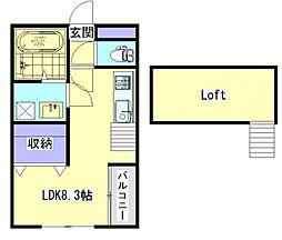 zonkey 2階ワンルームの間取り