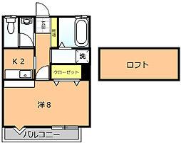 マグハウス 2階1Kの間取り