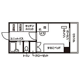 仙台市営南北線 泉中央駅 徒歩7分の賃貸マンション 4階ワンルームの間取り
