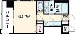 アースコートY'sシティ片野新町 4階1Kの間取り