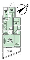 JR山手線 恵比寿駅 徒歩11分の賃貸マンション 2階1Kの間取り