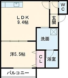 Urban Place 2nd 3階1LDKの間取り